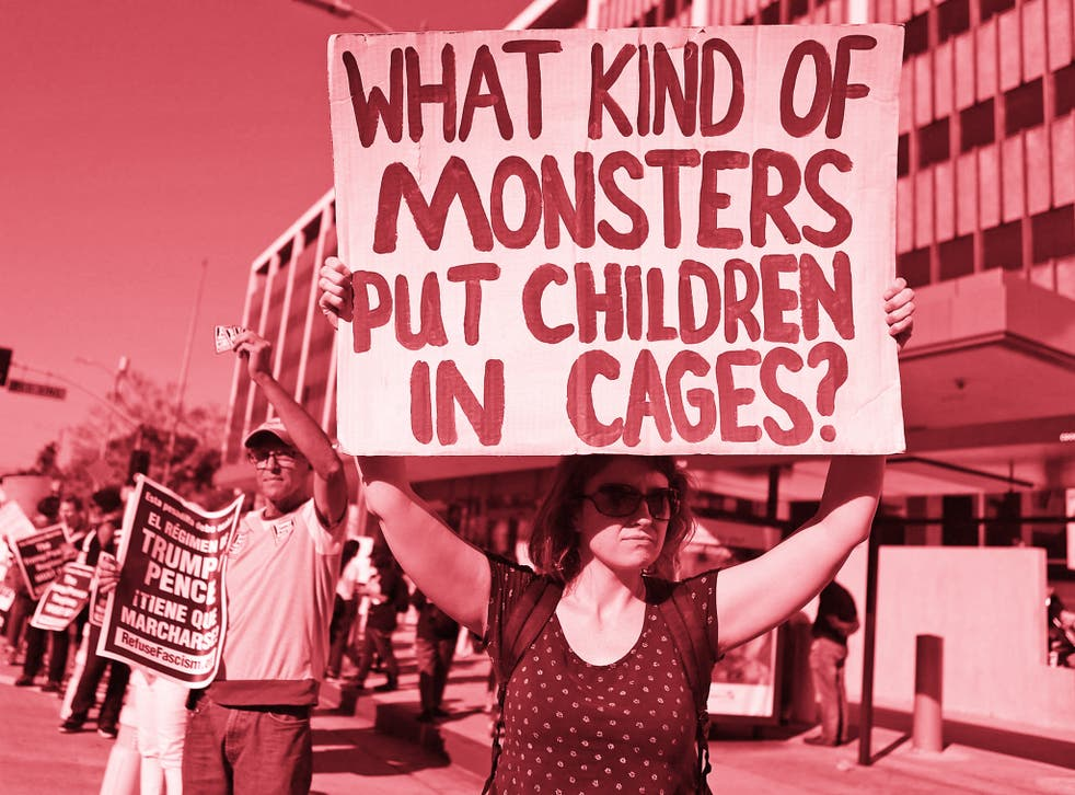 Protestors demonstrate against the separation of migrant children from their families in front of the Federal Building in Los Angeles, California
