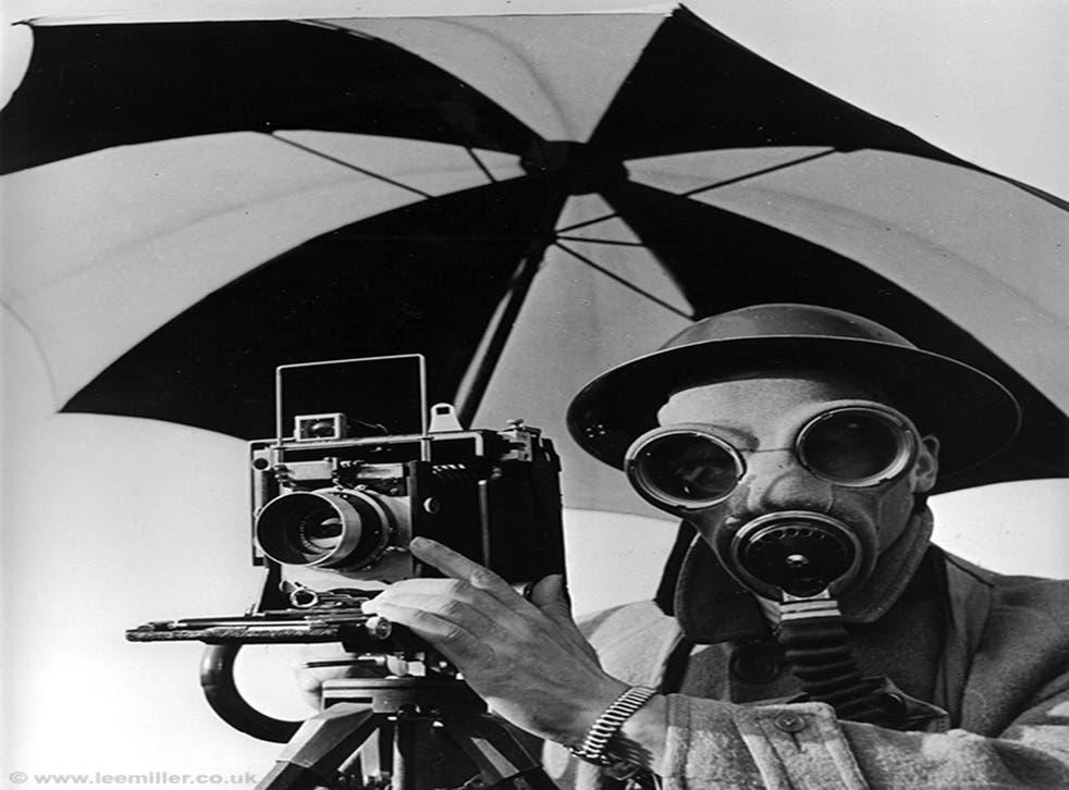 Miller's striking shot of Life photographer David Scherman, 'dressed for war' in London, 1942