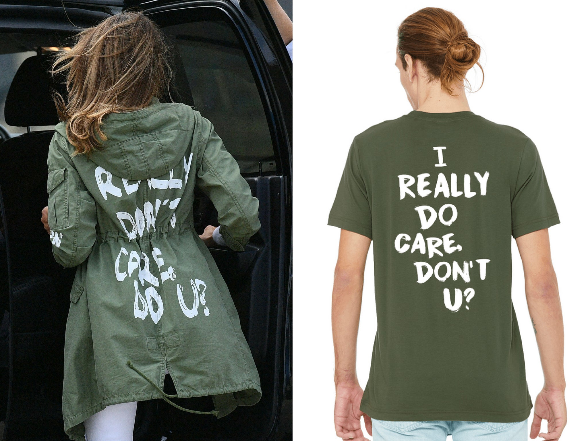 12da7dd6 After Melania Trump's jacket, people are buying 'I really do care' T-shirts  to raise money for immigrant charity | The Independent