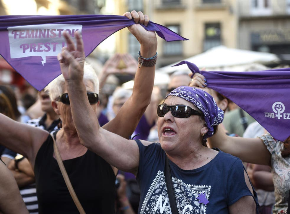 People protest in Pamplona, Spain, after a court ordered the release on bail of The Wolf Pack