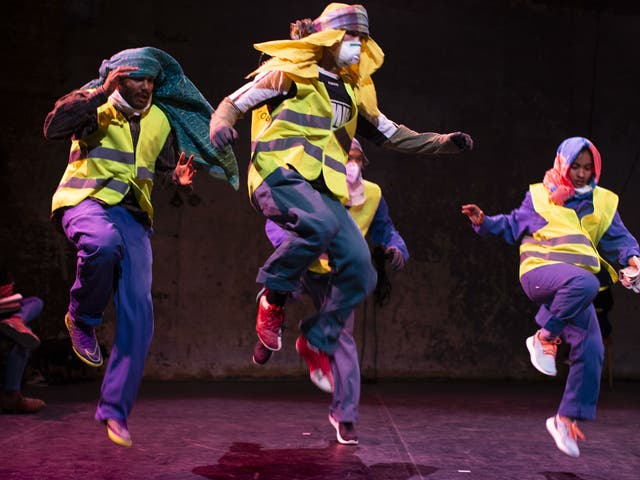 The dancers slowly emerge from cloying works fatigues to become individuals
