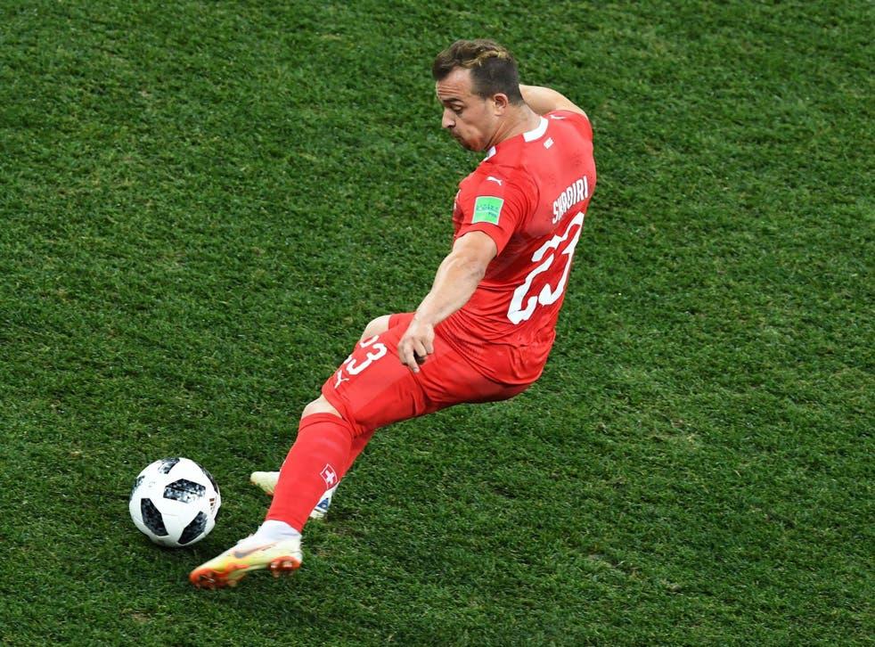 Shaqirifires in a free-kick for Switzerland