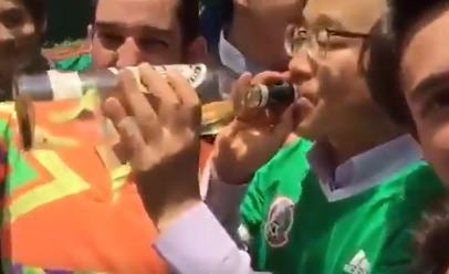 a3540cff2 World Cup 2018  Euphoric Mexico fans search out South Korean ambassadors  after win over Germany and make him down shots of tequila