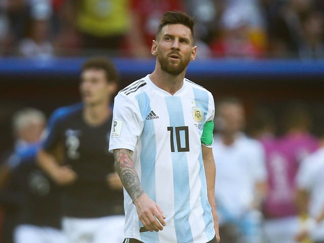 Argentina's forward Lionel Messi reacts