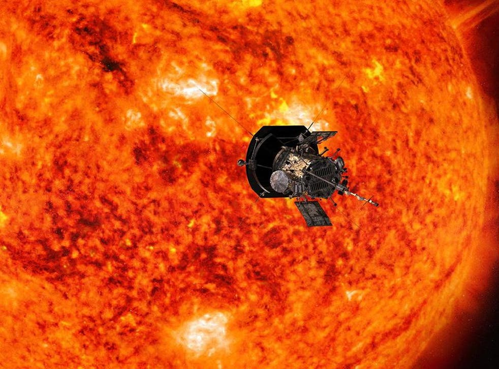 Artist's concept of Nasa's Parker Solar Probe, which will fly through the sun's corona to trace how energy and heat move through the star's atmosphere