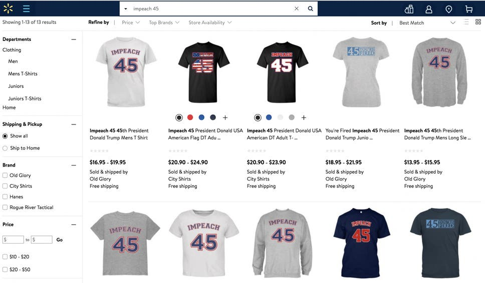 Customers are outraged over u0027Impeach 45u0027 shirts sold on Walmartu0027s website  ...
