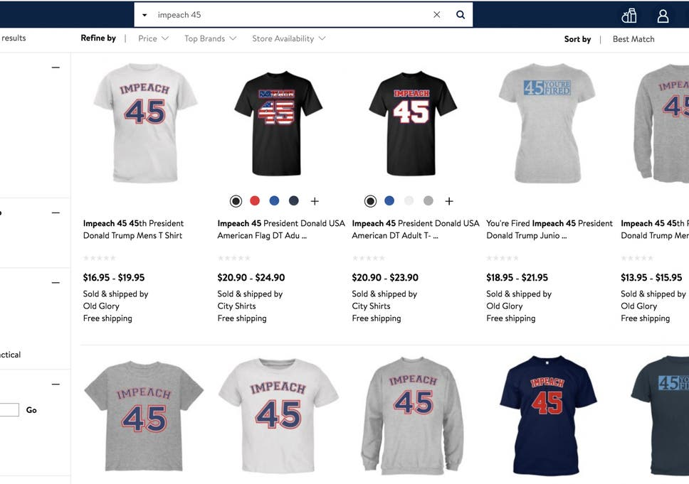 e182b196da5 Customers are outraged over  Impeach 45  shirts sold on Walmart s website  ...