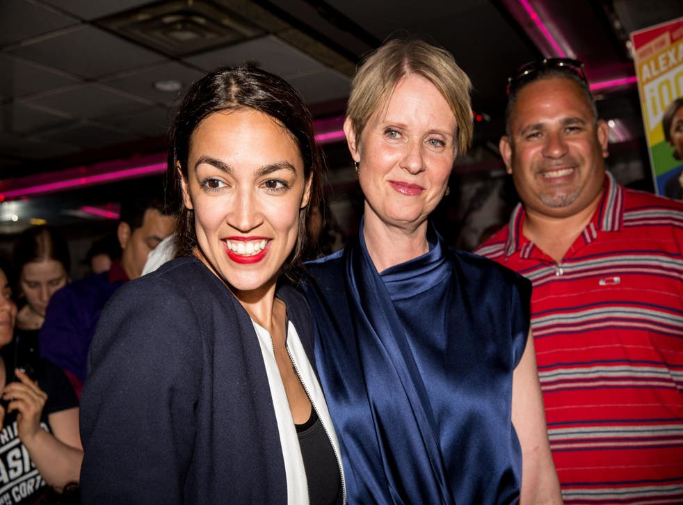 Alexandria Ocasio-Cortez is joined by Cynthia Nixon at her victory party in the Bronx