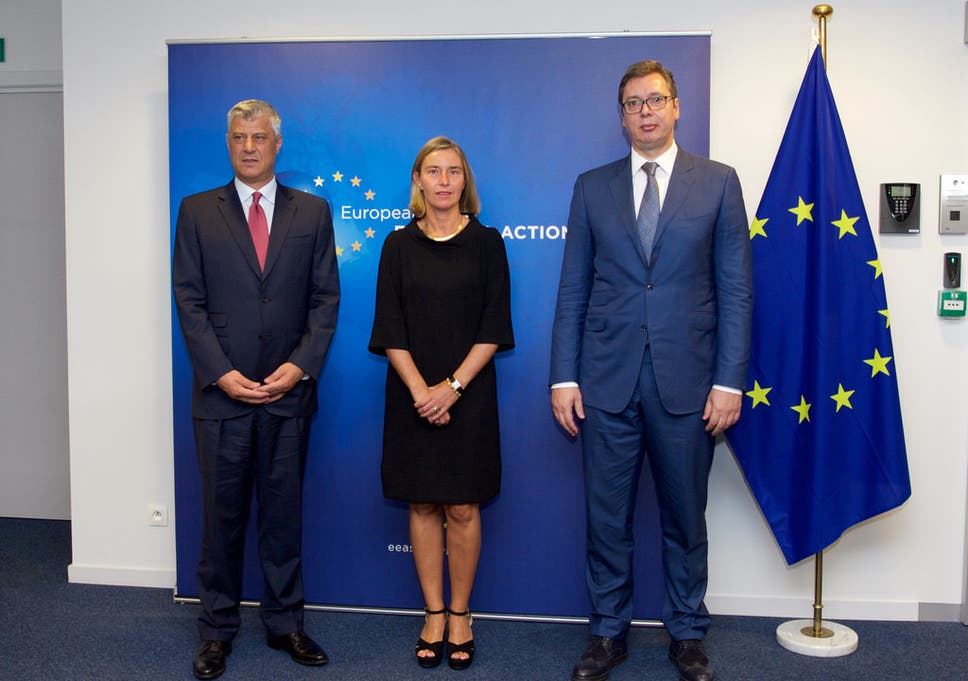 Aleksandar Vucic met with Hashim Thaci and Federica Mogherini in Brussels