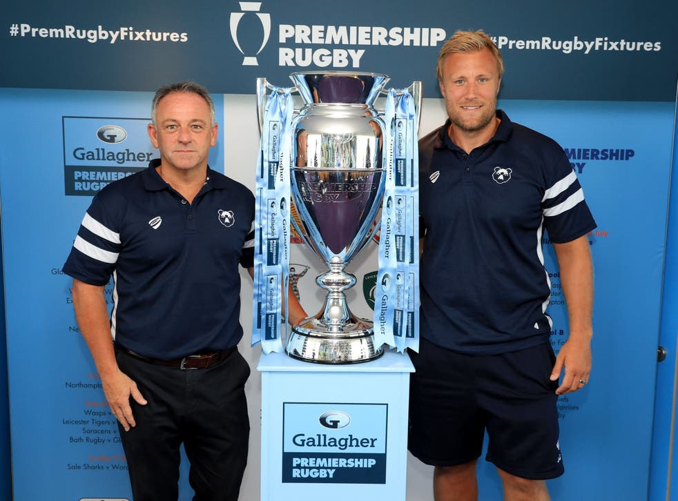 Bristol head coach Mark Tainton and Jordan Crane at the announcement of the Gallagher Premiership fixtures