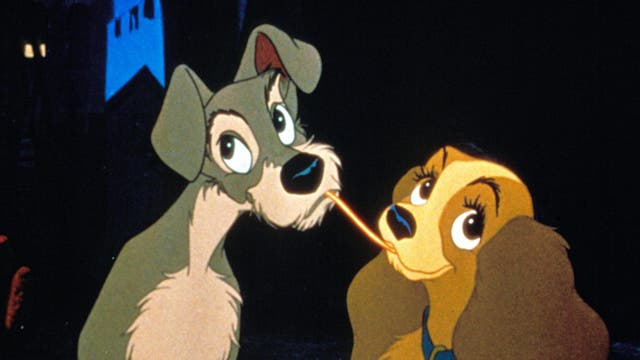 "Who would have guessed one of the most romantic scenes in cinema would involve two dogs eating scraps in an alleyway? And, yet, the iconic spaghetti kiss from Disney's 1955 animated film has been oft imitated but never surpassed, as the two pups indulge in an Italian delicacy, all soundtracked to Sonny Burke and Peggy Lee's ""Bella Notte"". And, as Tramp proves, there's no greater act of chivalry than offering your date the last meatball…"