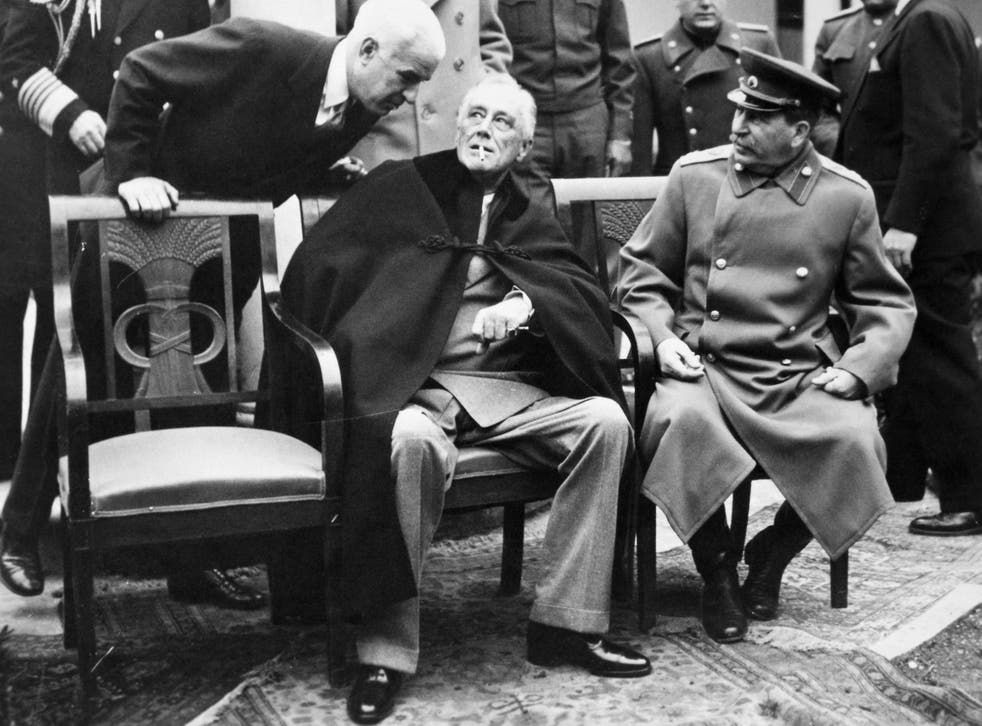US secretary of state Edward R Stettinius, US president Franklin D Roosevelt and Soviet premier Joseph Stalin at the Yalta Conference in February 1945
