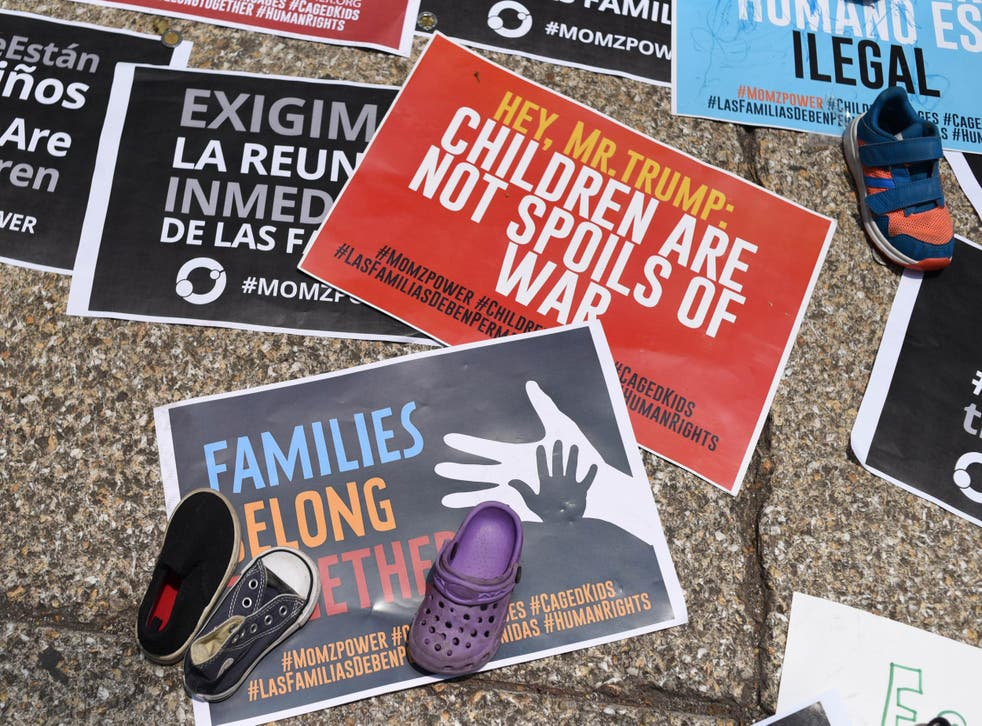 Signs protesting US immigration policies