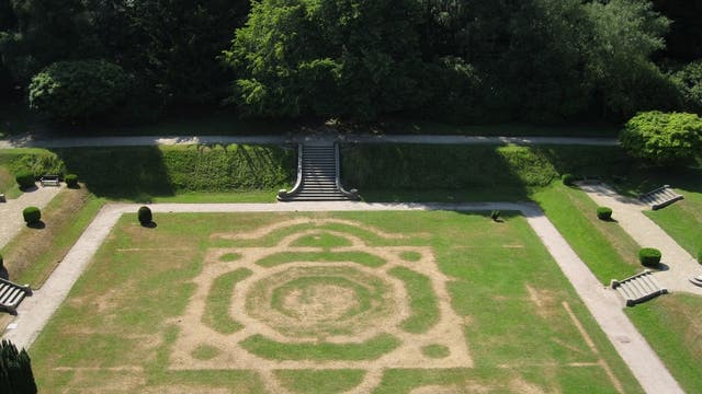 Crop marks show of the old garden at Gawthorpe Hall, Lancashire