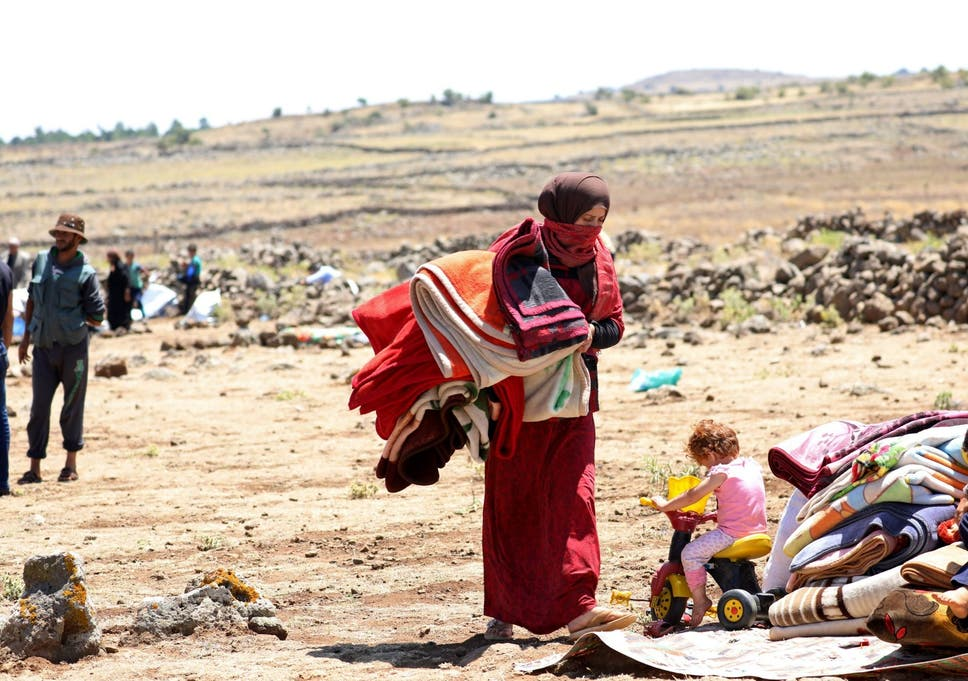 A Displaced Woman From Deraa Province Near The Israeli Occupied Golan Heights