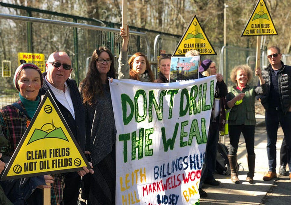 Local campaigners have been protesting oil companies in Surrey after earthquakes in the area were linked with drilling operations