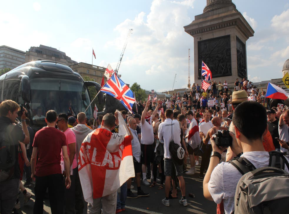 The incident happened at a pro-Tommy Robinson protest in London on 14 July