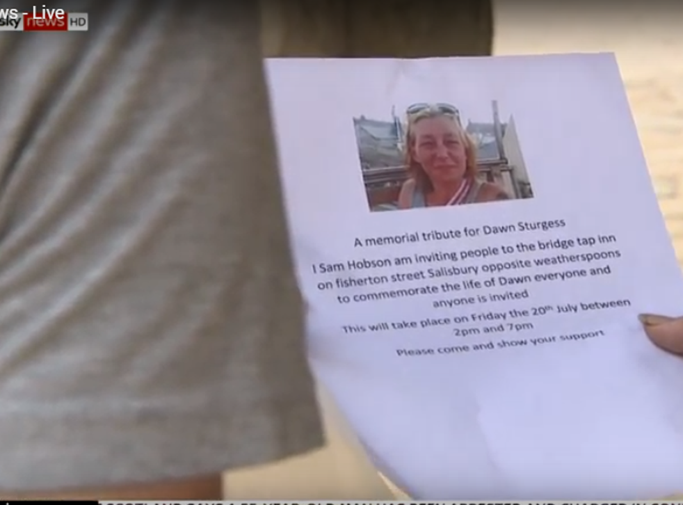 Invitations to a memorial service are being circulated in Amesbury by Dawn Sturgess's friends