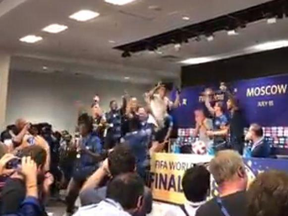 World Cup final 2018: France players invade Didier Deschamps' press conference