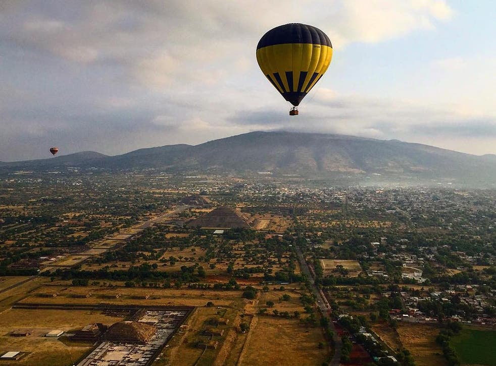 Viewing the ancient city of Teotihuacán by air is incomparable