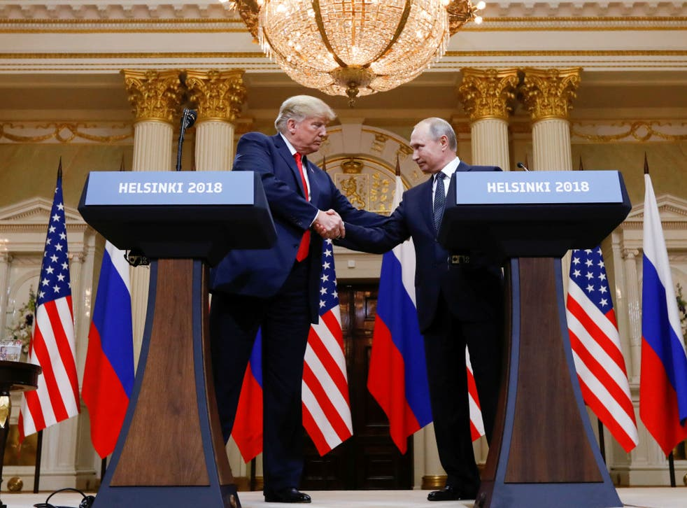<p>Trump and Putin at the Helsinki summit on 16 July 2018</p>