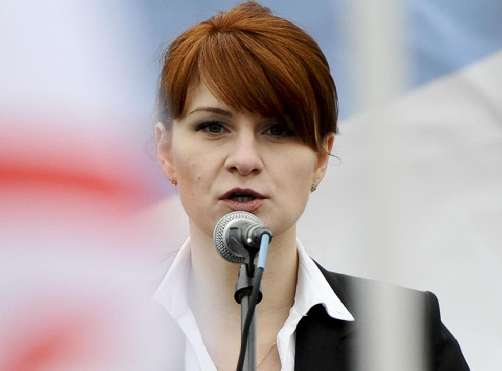 Maria Butina speaks to a crowd during a rally in support of legalising the possession of handguns in Moscow in 2013