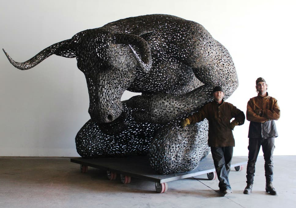 Artist Andy Scott with his assistant Rob and 'Minotaur'