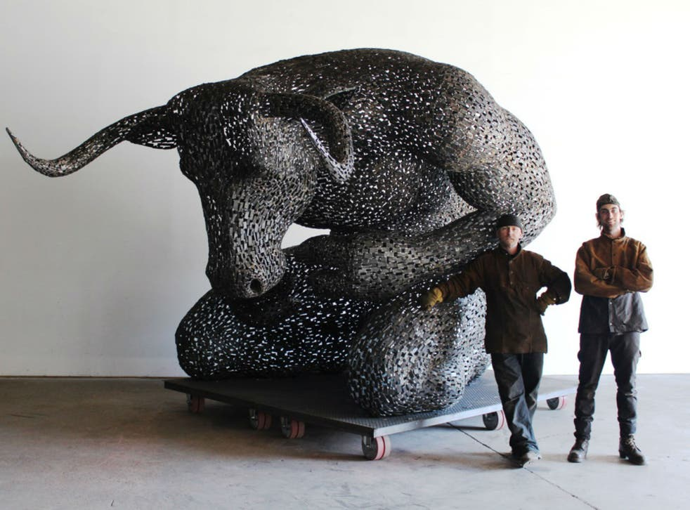 Artist Andy Scott with his assistant Rob and Minotaur