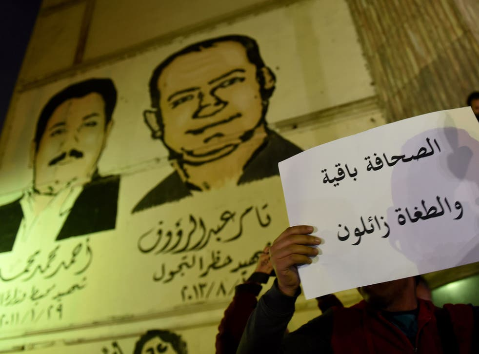 A journalist protesting against a crackdown on the free media in Egypt, which ranked 161 out of 180 countries in the 2017 Press Freedom Index
