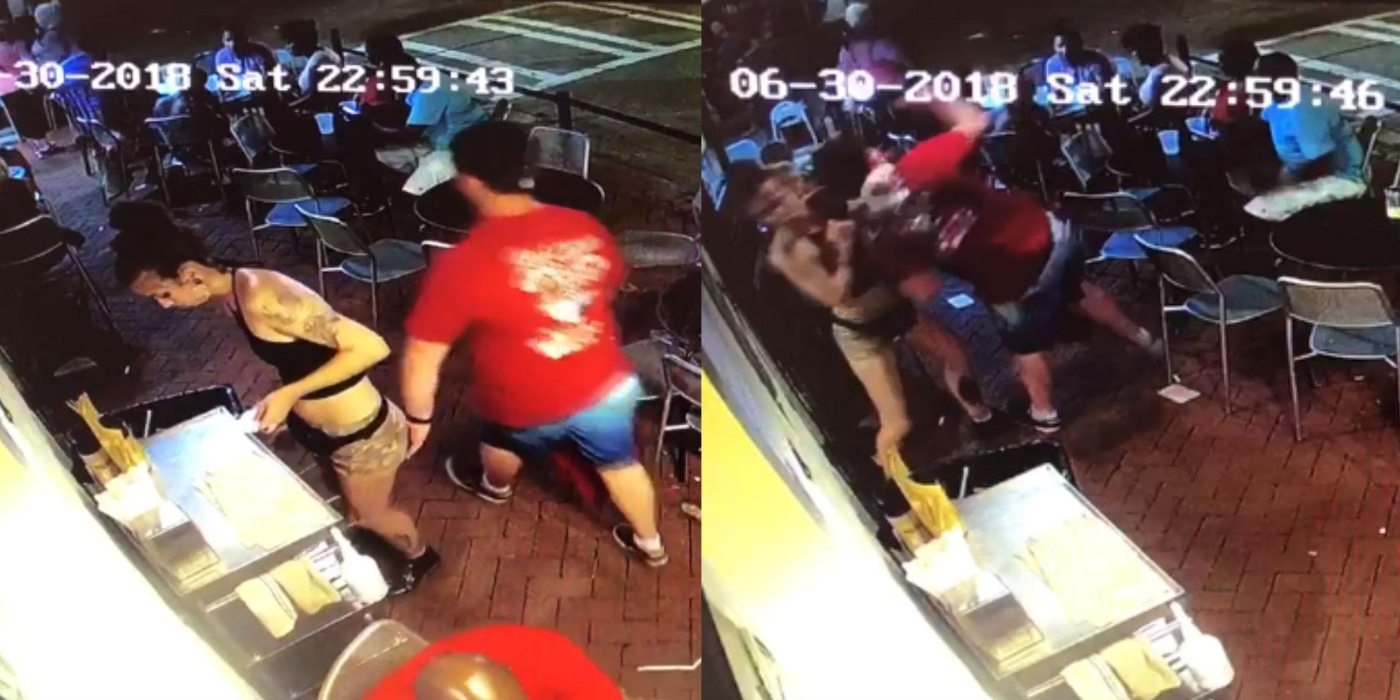 Ass Grope man gropes waitress in restaurant so she slams him into the