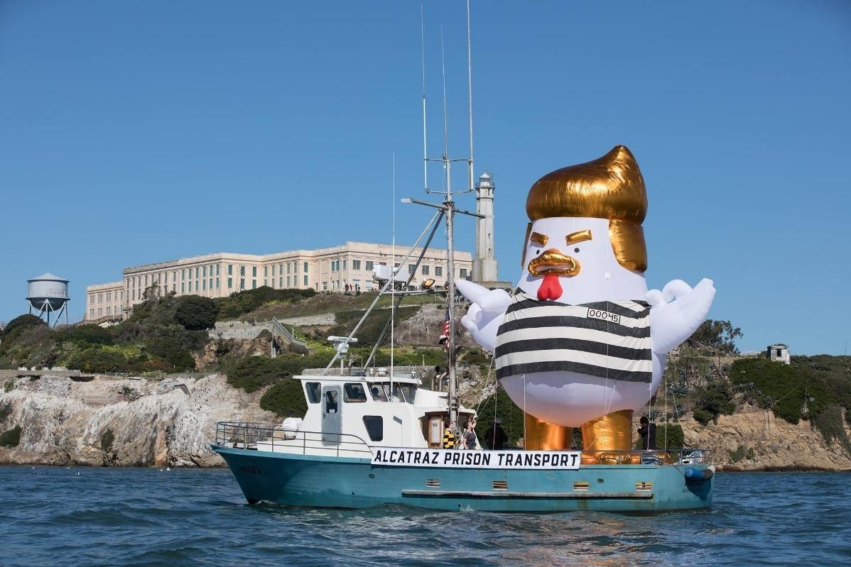 'Trump Chicken' dressed as a prisoner to sail around San Francisco