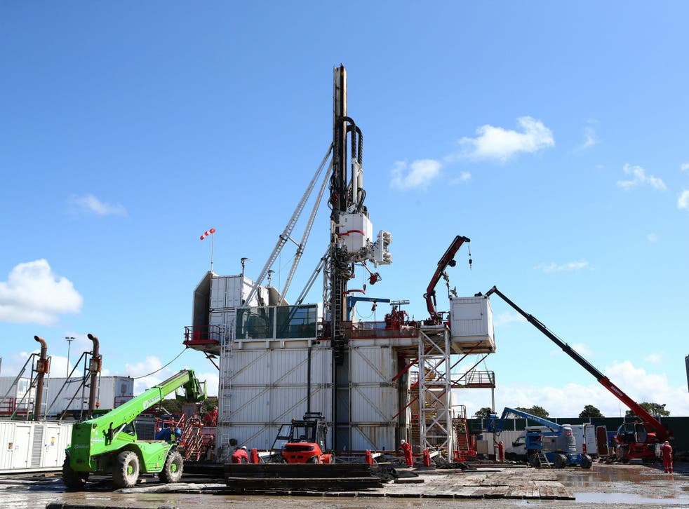 The drilling rig at Preston New Road shale gas exploration site