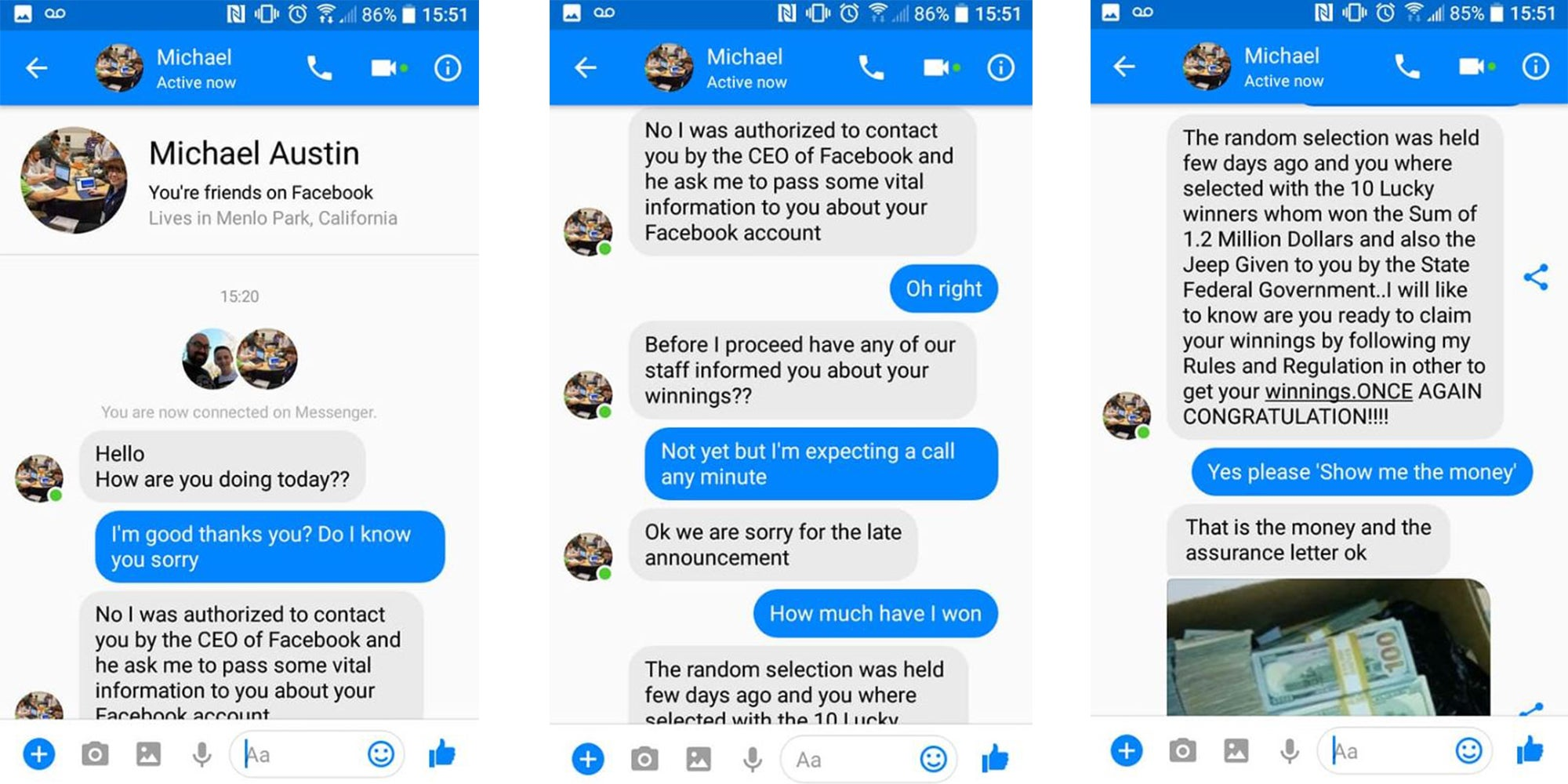 Allover30 Erica J facebook: man gets his own back on online scammer in