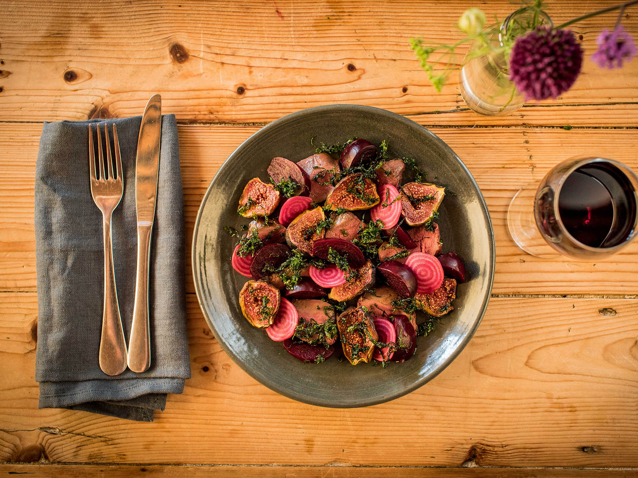 How To Make Pigeon With Roast Beetroots Figs And Seaweed