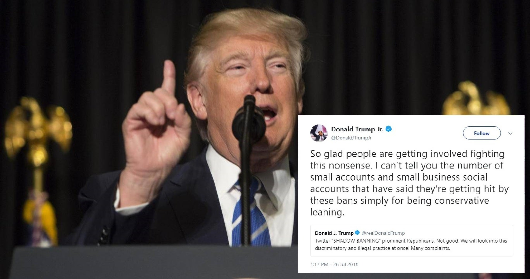 Trump and Donald Jr peddle debunked Twitter 'shadow ban' conspiracy