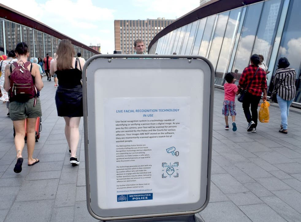A public information poster displayed during a Metropolitan Police trial of automatic facial recognition in Stratford, east London, on 26 July