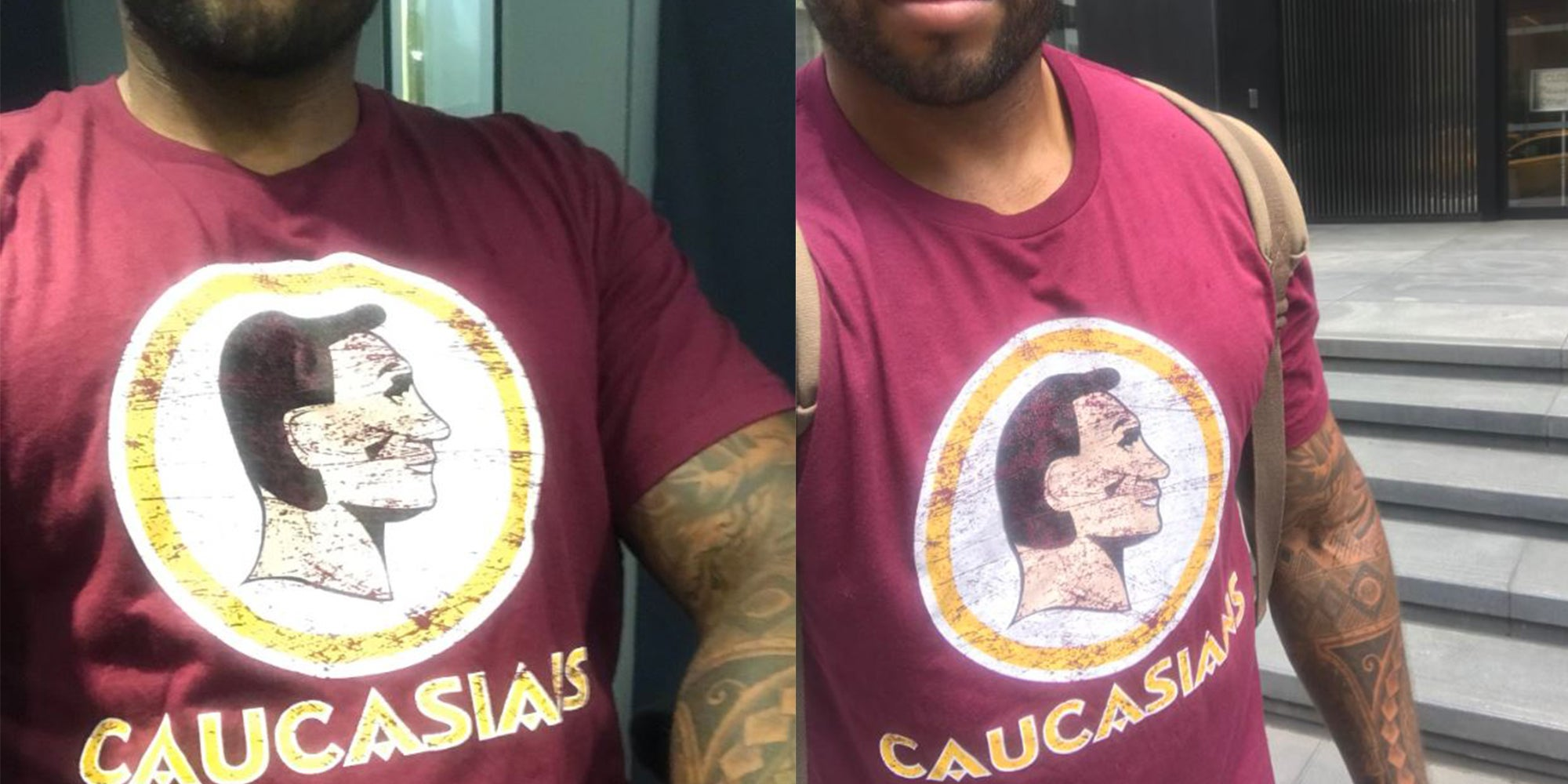 Man wears  caucasians  t-shirt in New York to show hypocrisy of NFL logo 2af5ef718