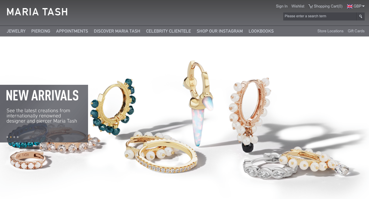 Online store selling jewelry products
