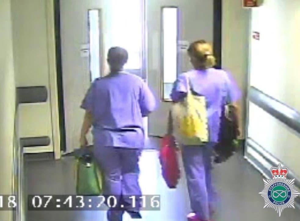 CCTV footage of Samantha Eastwood (left) leaving the Royal Stoke University Hospital at 7.43am on 27 July