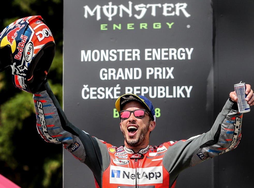 Andrea Dovizioso celebrates winning the Czech Grand Prix at Brno