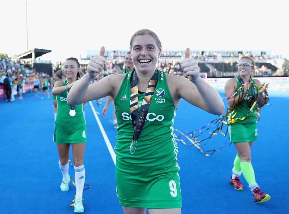 Ireland captain Kathryn Mullan celebrates her silver medal