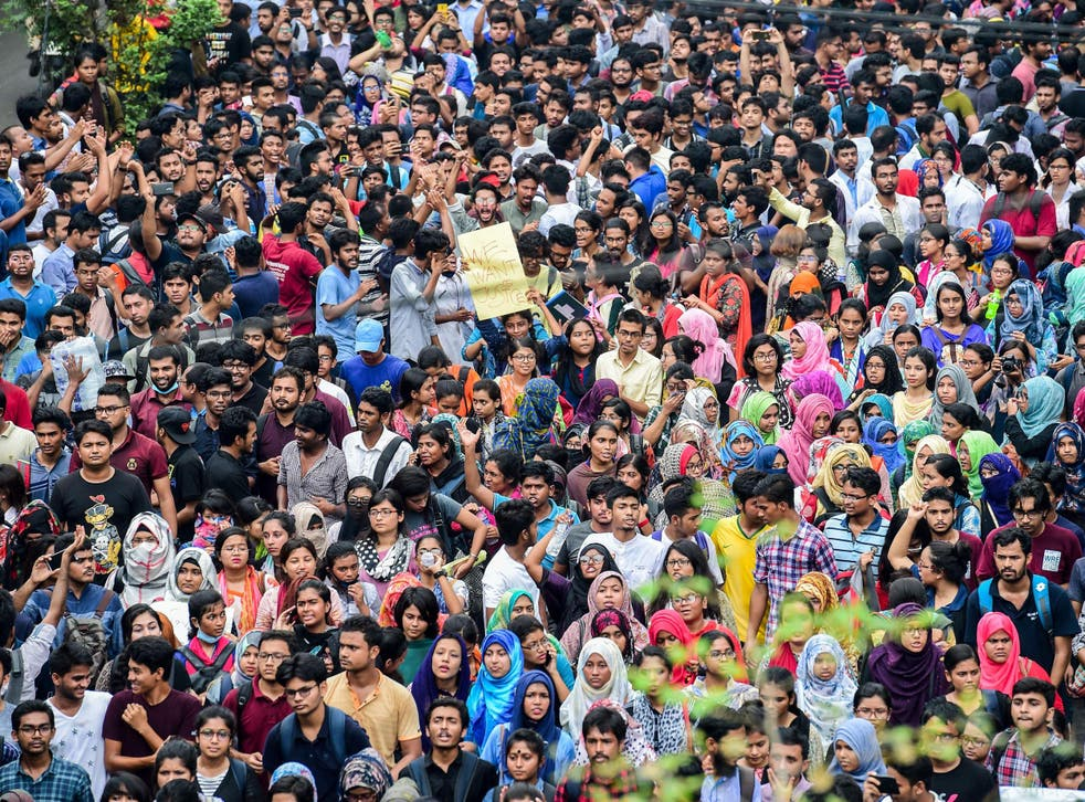 Bangladeshi students march during a student protest in Dhaka
