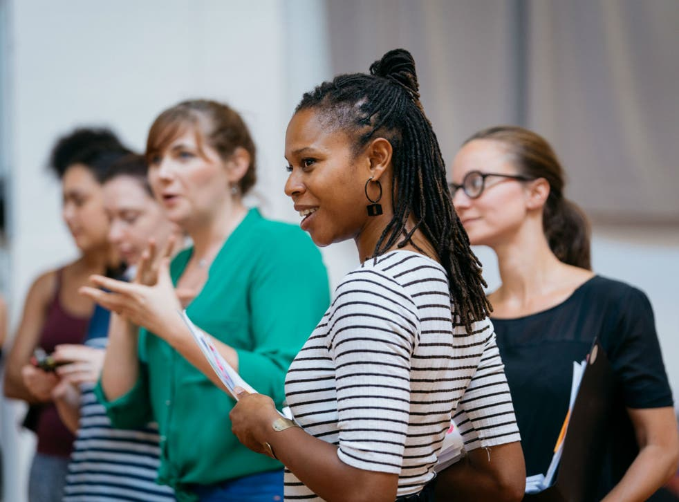Director Nicole Charles in rehearsal for Morgan Lloyd Malcolm's new play Emilia, at Shakespeare's Globe