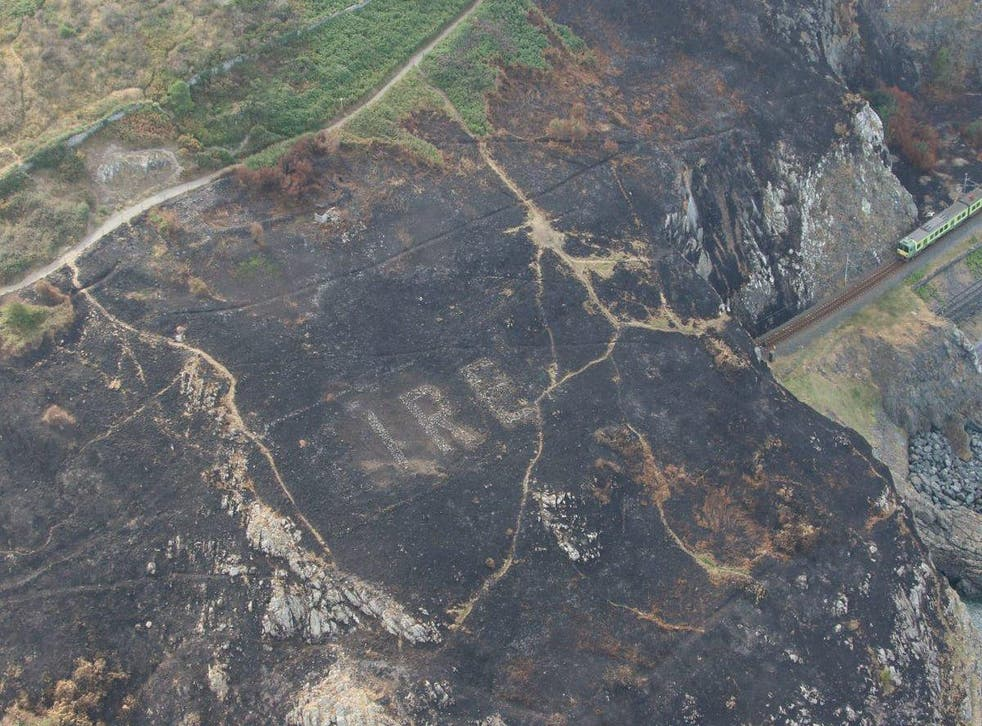 The massive World War Two 'Eire' sign uncovered by Irish wildfires