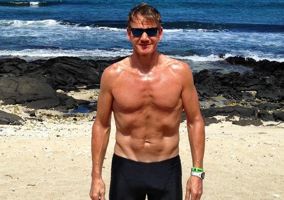 Gordon Ramsay shows off 50lb weight loss as he competes in