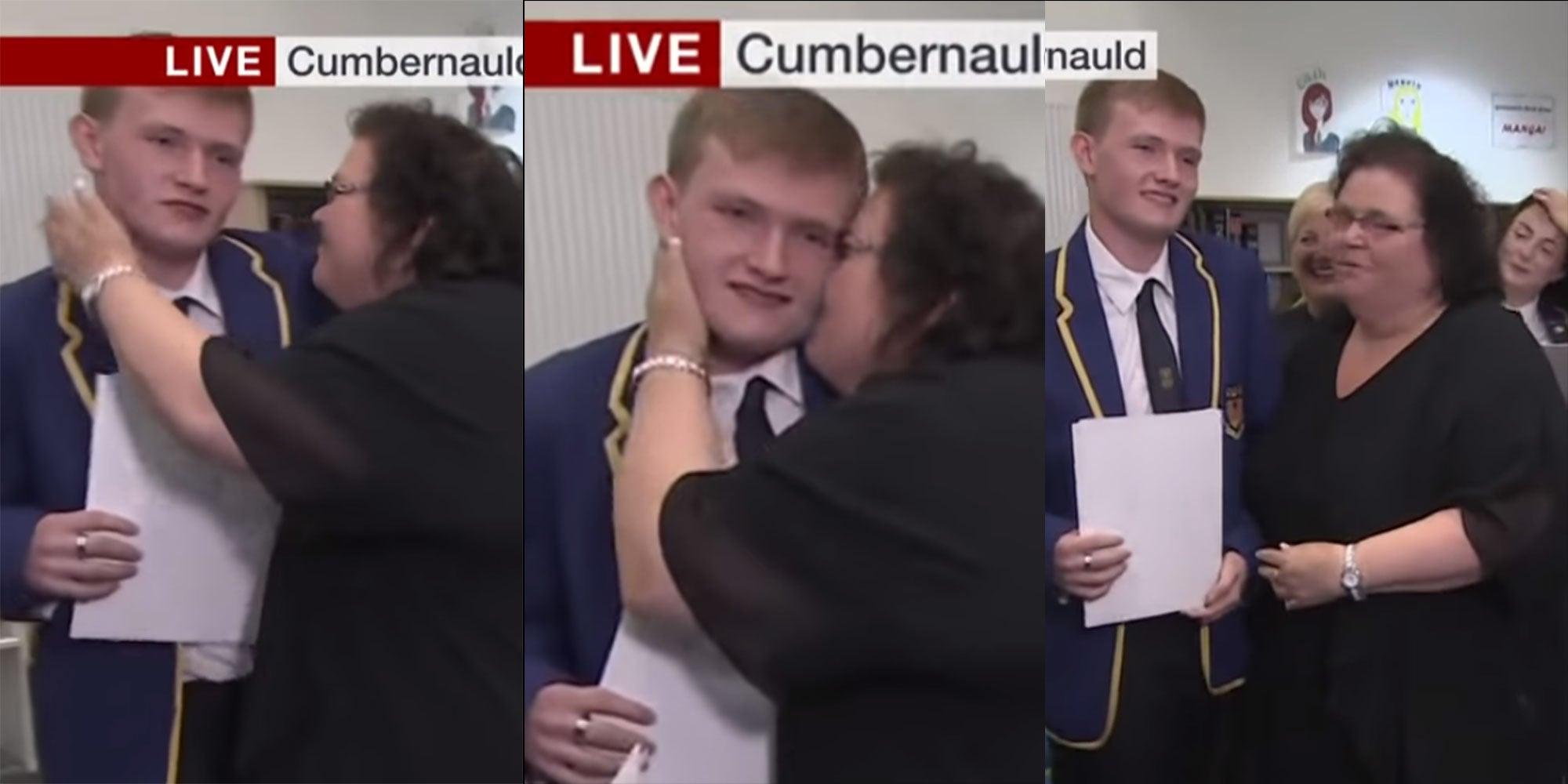 scottish exam results 2018: student embarrassedmum kissing him