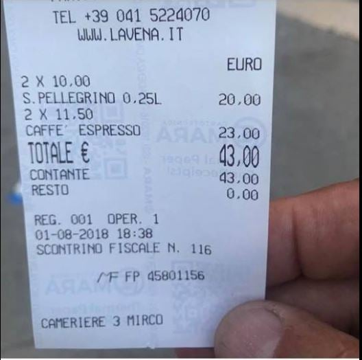 venice cafe sparks anger after charging tourists 43 for four drinks