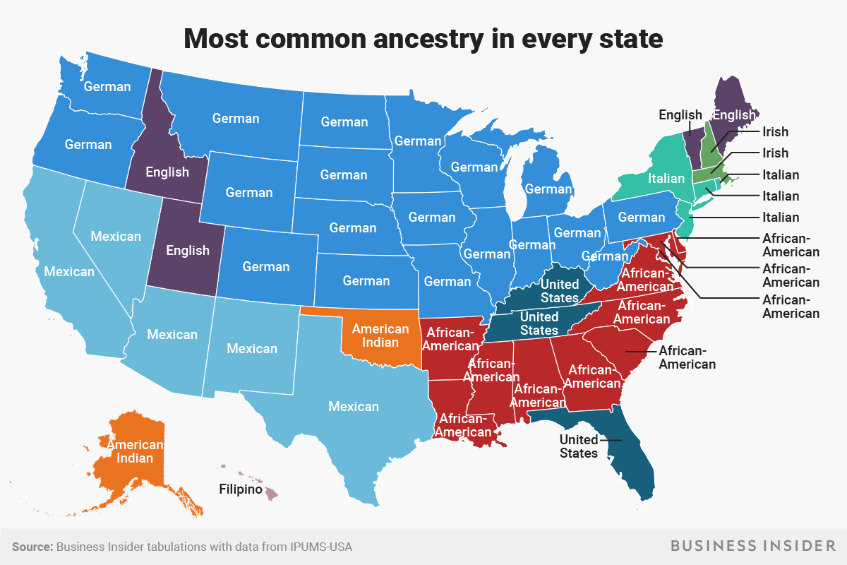 The Most Common Ancestries In Every Us State Indy100 - Map-of-the-world-with-us-states