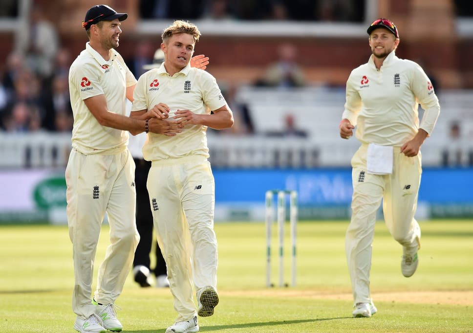 Sam Curran Celebrates With James Anderson And Joe Root