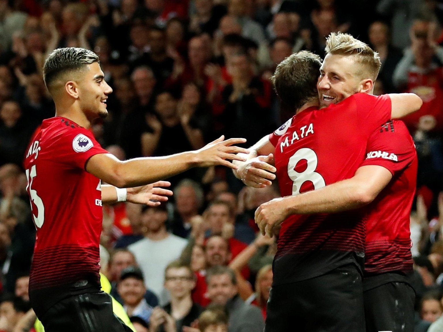 Luke Shaw scores first professional goal as Manchester United begin season with edgy win over Leicester